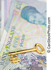 Gold pound key and currency