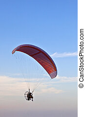 praia, sobre, voando,  paramotor,  Paraglider