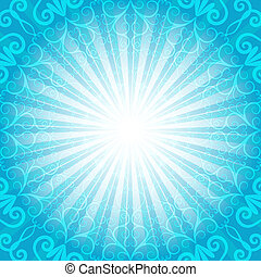 Christmas blue frame with rays and vintage pattern vector...