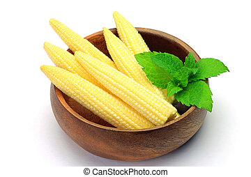 young corn - I put young corn in a wooden bowl and I took it...