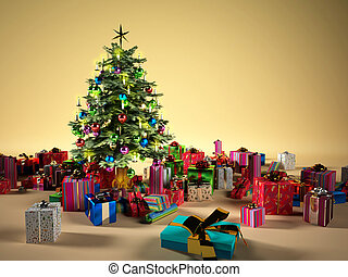 Christmas tree with several gifts around it.