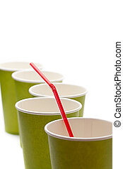 Paper cups with straws on a white background