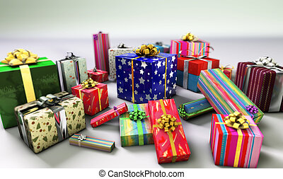 Group of gifts. - Group of gifts spread on a white surface.
