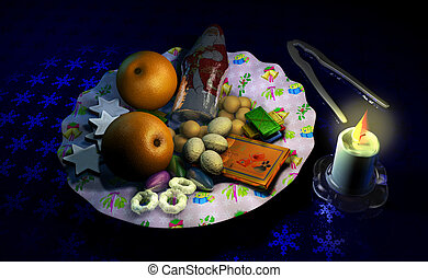 Decorated Christmass dish with fruits and sweets, besides a...
