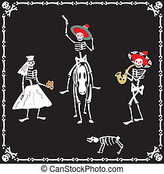 Amusing skeletons on wedding - Amusing dancing skeletons on...