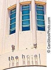 Hotel sign in beautiful historic Art deco district in South...