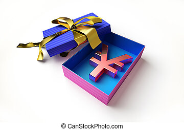 gift box with yen symbol inside - Opened gift box with...