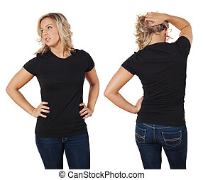 Female posing with blank black shirt