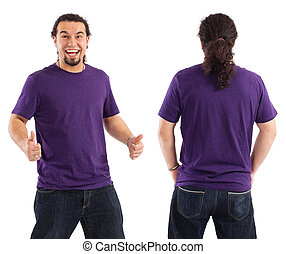 Excited male with blank purple shirt - Young male with blank...