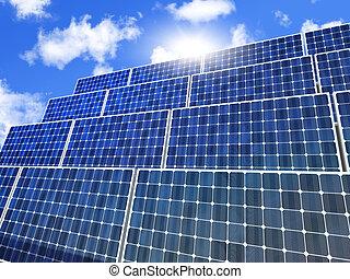 solar panel and blue sunny sky
