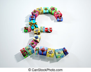 Sterling sign, made of many gifts. - Pound Sterling sign,...