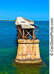 old Railroad Bridge on the Bahia Honda Key in the Florida...