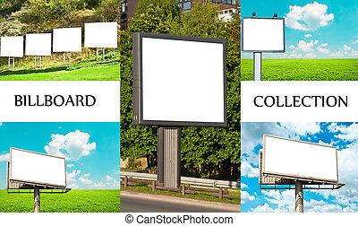 Collection of empty billboards in nature