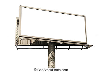 Blank billboard isolated on white background