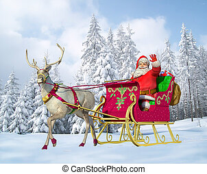 Santa Claus on his sleigh and reindeer on snow, with snow...