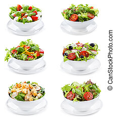 set with different salads