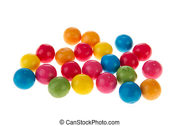 Chewing gum balls - Colorful chewing gum balls iolated over...