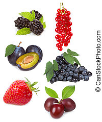 set with different berries