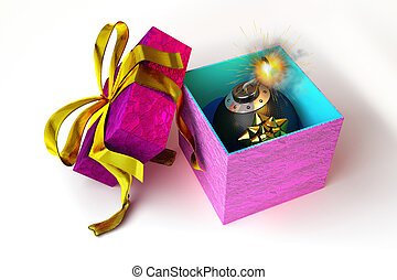 Opened gift box with bomb inside