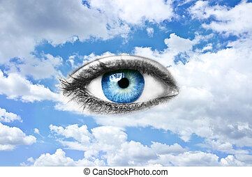Blue eye and blue sky