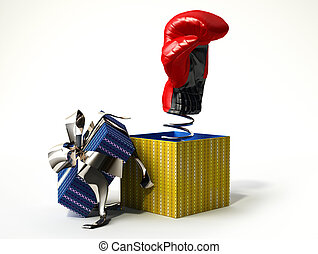 Boxing glove coming out from a gift box, with the cup with...