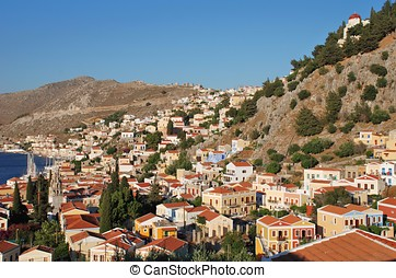 Yialos, Symi island - Looking across Yialos on the Greek...