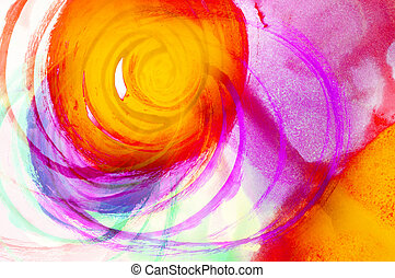 water color art - Red and Yellow Water Color Paint Texture