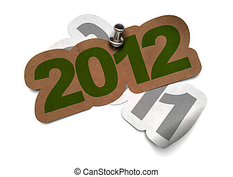 2012 green kraft paper sticker fixed onto 2011 - 3d greeting card over a grey background, numbers are fixed with a metal thumbtack