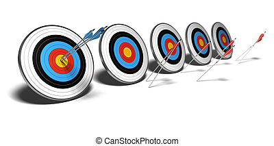 many targets over a white background with shadow. The first set of blue arrows hit the center of the first target, The red arrows failed to reach their objectives.