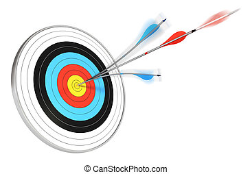 one blue arrow splitted with a red arrow hitting the center...