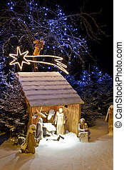 Nativity scene - Natural crib in the snowy winter landscape