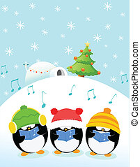 Caroler Penguins - Group of caroler penguin singing.