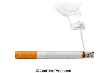 Cigarette - Smoking and burning cigarette isolated on white