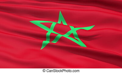 Waving Flag Of Morocco - The red waving Flag Of Morocco with...