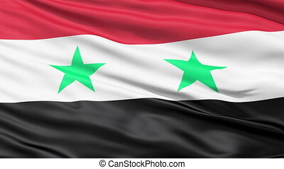 Waving Flag Of Syria with two green stars representing Syria...