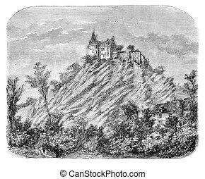 Chateau of Sainte-Suzanne (Mayenne). - Drawing Catenacci,...
