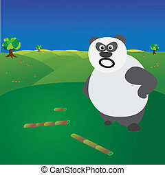 Deforestation concept showing angry panda without food -...