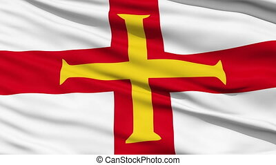 Flag Of The Bailiwick Of Guernsey with a gold cross on the...