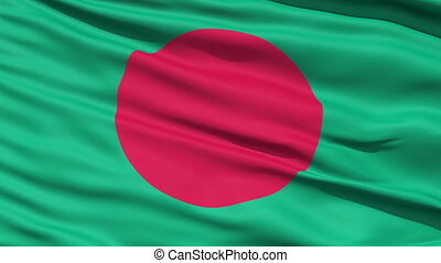Waving Flag Of Bangladesh with a red disc symbolising the...