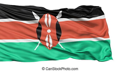 Flying Flag Of Kenya with a Maasai shield and spears...