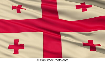 Fluttering Flag Of Georgia with the St George Cross in the...