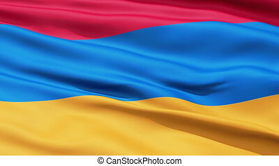 Waving Flag Of Armenia, a horizontal tricolor of red, blue...