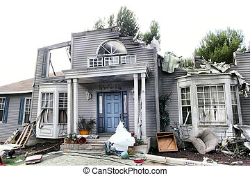 House damaged by disaster Scenery for cinema