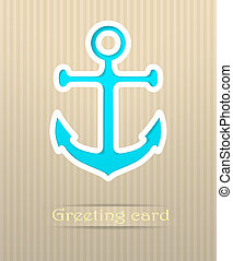 Anchor postcard vector illustration