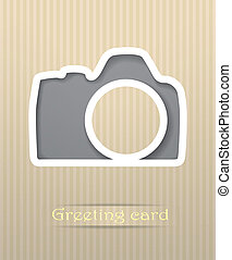 Photo camera postcard vector illustration