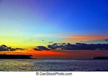 sunset in Key West with beautiful clouds in warm colors