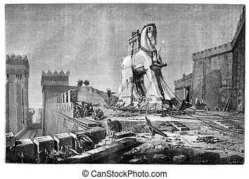 Salon of 1874, Painting. - The Trojan Horse, by Motte,...