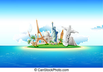 Monuments on Island - illustration of world famous monument...