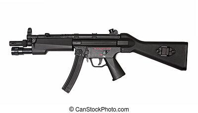 moderno, submachine, arma de fuego, lado, vista, Arma, serie