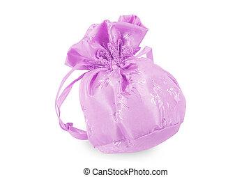 Pink christmas bag with present